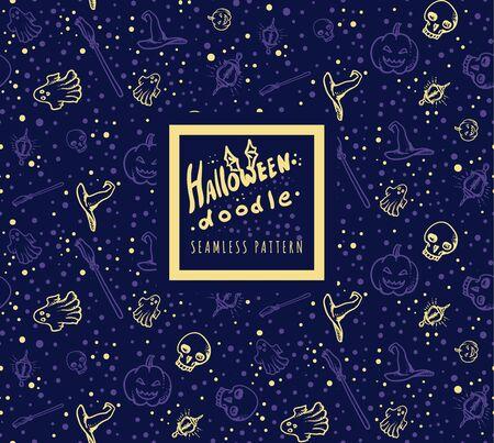 Halloween doodle seamless pattern on dark blue background