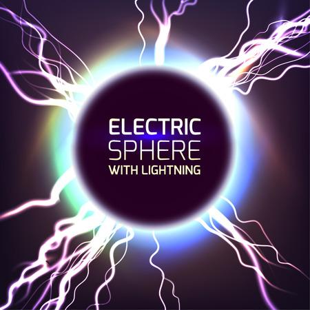 Electric sphere light effect background with lightning bolts Illusztráció