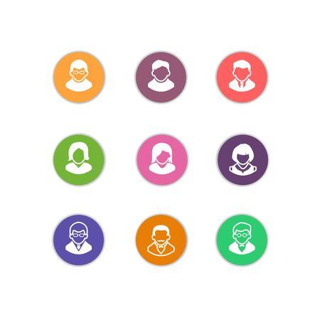 User sign icon. Person symbol. Human avatar. Round colourful buttons. Vector Illusztráció