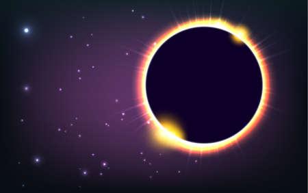 Sun eclipse in space, cosmic vector illustration widescreen Illusztráció