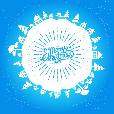 Light blue christmas card with handwritten lettering