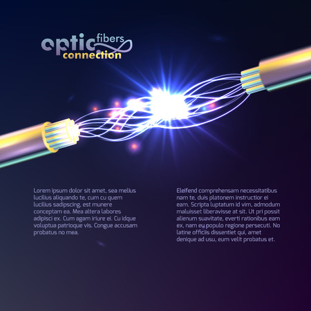 Optic Fibers Connection Vector Background with cable