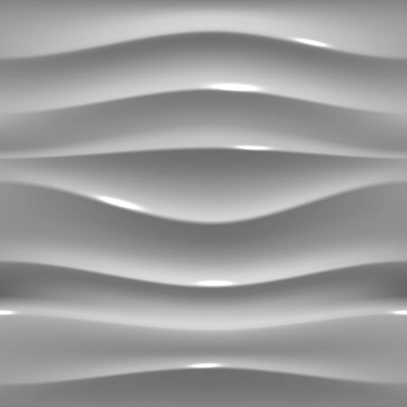 Gray glossy plasitic seamless texture. Wavy background. 3D Vector pattern.