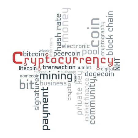 Cryptocurrency word cloud, business and finance concept