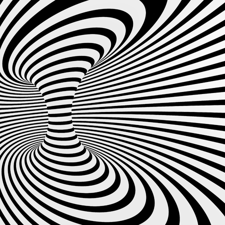 Black and white abstract vector stripes tunnel, optical illusion Ilustração