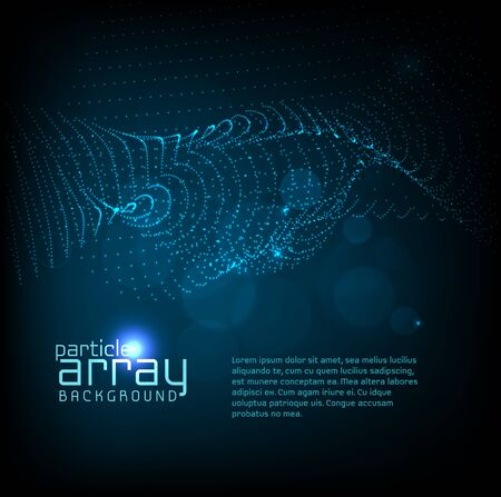 wave particles background - 3D illuminated array of dots. Futuristic and technology illustration, HUD modern element