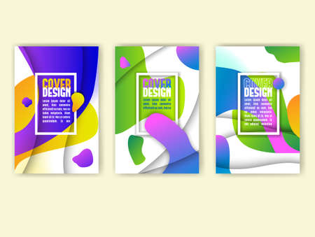 Abstract background with colorful waves and paper cut depth effect. Vector Illustration. Design Template for book covers, annual reports or flyers.