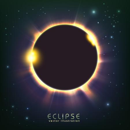 Sun eclipse in space, cosmic vector illustration