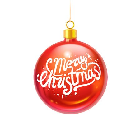 realistic glossy christmas ball with handwritten doodle lettering, isolated object