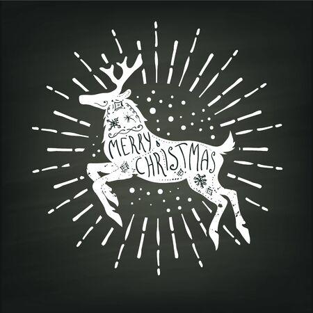 Christmas deer white silhouette whith merry christmas handwritten lettering on chalk board background