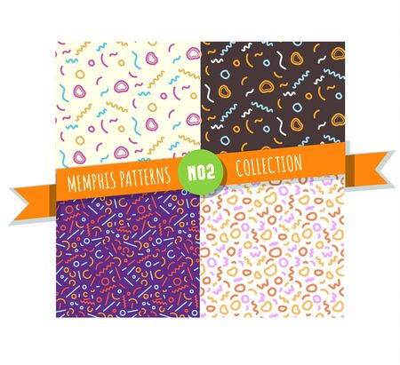 Memphis pattern seamless collection for wrapping paper, textile and graphic design