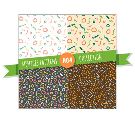 Memphis pattern seamless collection for wrappimg paper, textile and graphic design