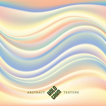 Hologram wavy liquid effect texture, horizontal seamless pattern