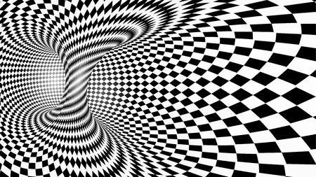 Black and white abstract vector tunnel, optical illusion