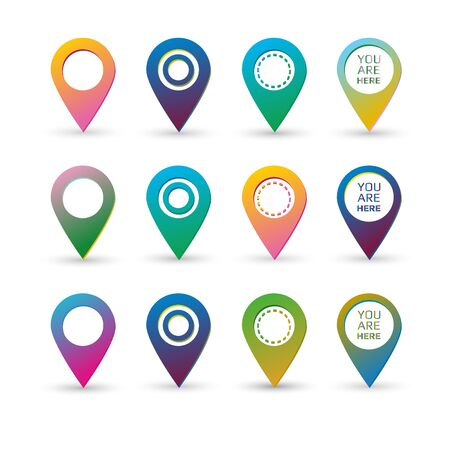 Colorful map markers with circles with blank space and text sign, gradients with slightly holographic effect. Illusztráció