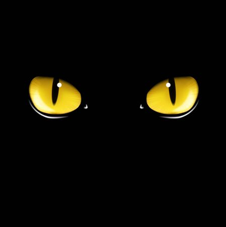 Black cat's yellows eyes vector illustration Illustration