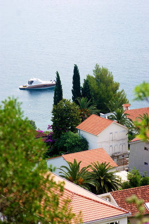 estival: Detail of the village of Njivice Montenegro Stock Photo