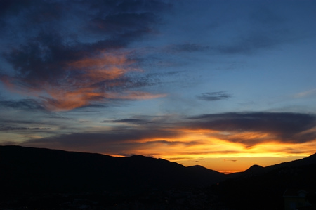 extramural: sunset over mountains