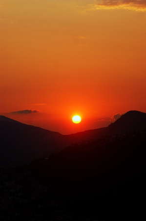 extramural: Fiery red sunset Stock Photo