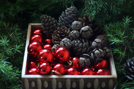 nativity scene: Fir cones and Christmas balls