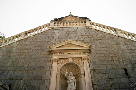 pilasters: View of the Church of Nativity in Prcanj Stock Photo