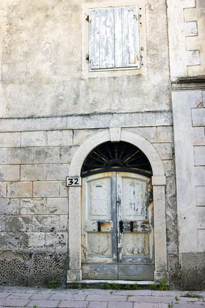 front elevation: Detail of an old house Prcanj, Montenegro Stock Photo