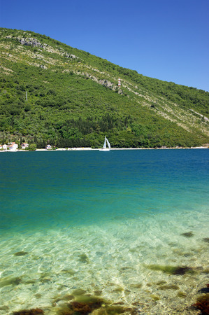The waters of the Adriatic Sea in Boka Bay Imagens