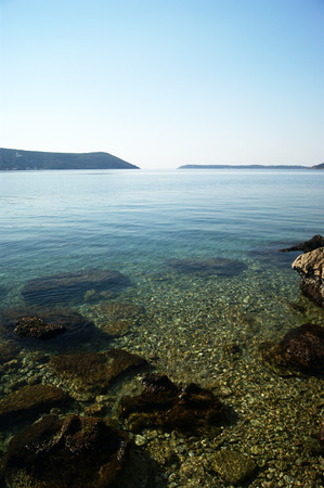 pellucid: The sea in the Boka Bay Stock Photo