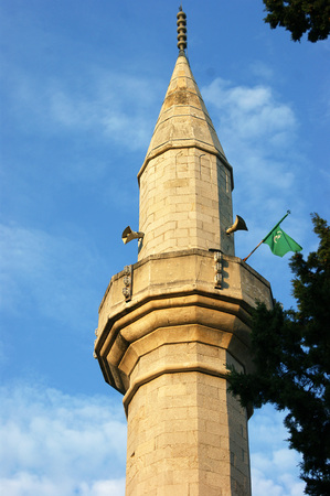 lithic: The minaret of a mosque in Trebinje Stock Photo