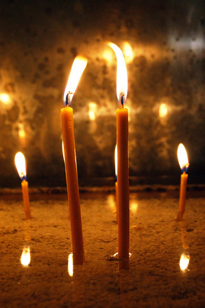 orison: candles in church Stock Photo