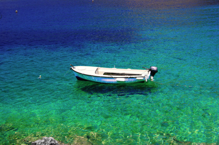 shallop: The boat in the waters of the Adriatic Stock Photo