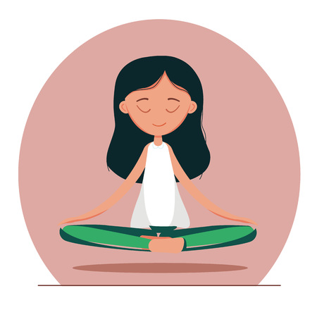 A cute Girl Practicing Yoga. lotus meditative pose. Template for design cards, notebook, yoga studio, poster and natural cosmetics/Print for T-shirt. Character design. Stock Illustratie