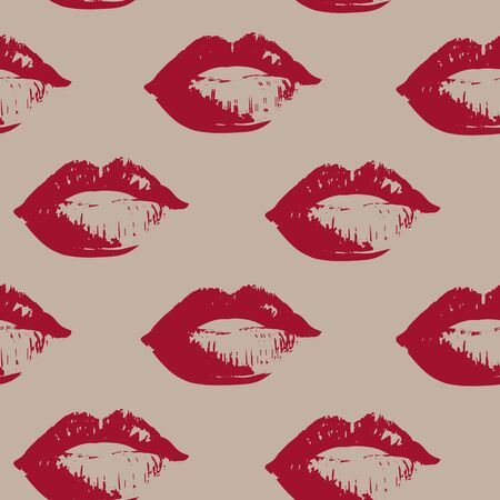 Imprint of lips on an isolated background. Vector illustration. Stock illustration. You can apply both printing on fabric and wrapping paper.