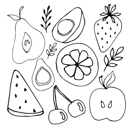 Collection of fruits and berries in doodle style. Decorative retro style farm collection product for restaurant menu, market label. Vector doodle illustration in black isolated on white background. Ilustração