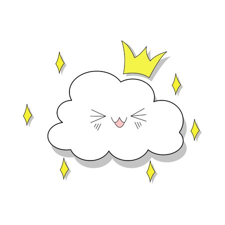 Shy cloud vector template with a smile. Isolated on a white background with hearts for children's parties. Cute baby shower. Childish style drawing funny clouds in love vector illustration. Vettoriali