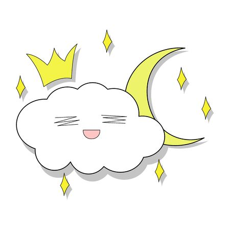 Merry cloud in the crown with the moon around the star. Children's pattern. Isolated on a white background for children's parties. Funny clouds in love, vector and stock illustration.