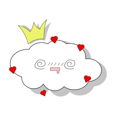 Vector cloud template. Isolated on a white background with hearts for children's parties. Cute baby shower vector background. Child drawing style rainy clouds in love vector illustration.