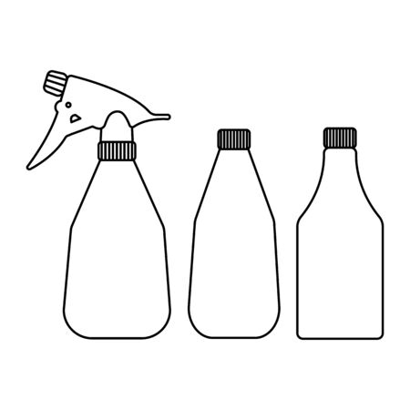 Vector silhouette of a spray bottle for the garden on a white background. For agriculture and watering plants and vegetables. Flat design objects without fill. Vector and stock illustration.