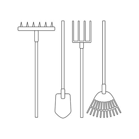 Vector set of tools for the garden on a white background. For agriculture and caring for plants and weeding vegetables. Flat design illustration of objects without fill. Vector and stock illustration.