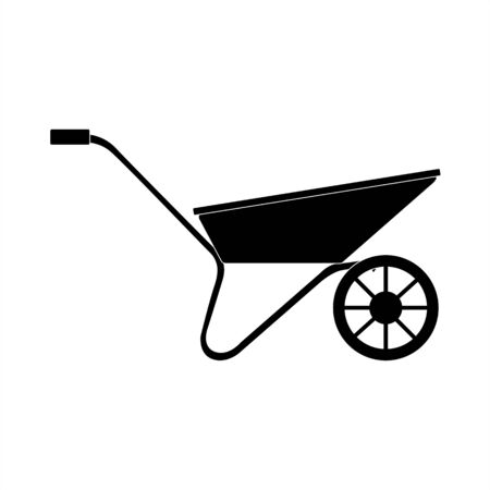 Vector silhouette of a wheelbarrow for a garden on a white background. For agriculture, transportation of soil and land. Flat design objects without fill. Vector and stock illustration.