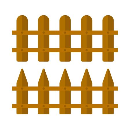 Vector set of fence for the garden on an isolated white background. Tool for agriculture. Fencing elements for design. Flat design illustration of objects without fill. Vector and stock illustration.