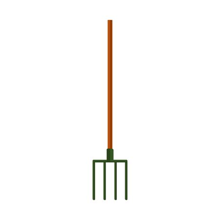 Vector silhouette of a pitchfork for a garden on a white background. For cleaning the territory and digging out plants and vegetables. Flat design objects without fill. Vector and stock illustration.