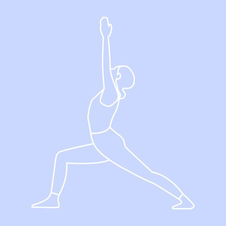 Sport illustration flat style, cute sturdy girl doing yoga on an isolated white background. Makes fitness exercises, sport workouts in various poses. Template for design work. Vector stock graphics.