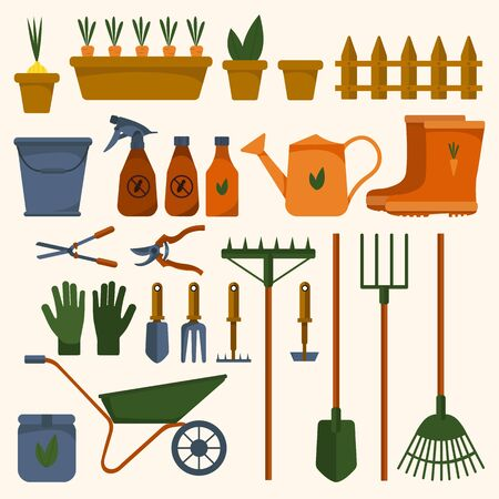 Set of various garden tools on an isolated white background. Equipment for agriculture. Flat design illustration of colored objects. Watering can, spade, bucket. Vector and stock illustration. Reklamní fotografie