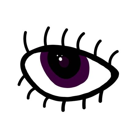 Magic purple eye with eyelashes on an isolated white background. Psychedelic. Flat design. Flat style, contour. Design for applying, printing on fabric, wallpaper. Vector stock illustration. Illustration