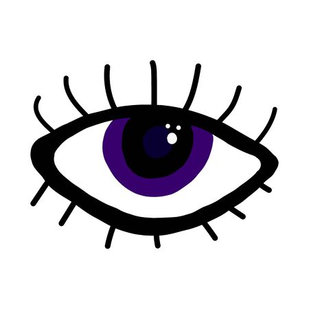 Magical violet evil eye on an isolated white background. Mascot. Different forms. Flat design. Flat style, contour. Design for application, print on fabric, wallpaper. Vector stock illustration.