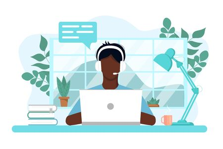 Vector concept of work and study at home, chat online support remotely. Isolated white background. African guy at the computer in headphones. With flowers, books and a lamp. Flat style, pastel colors.