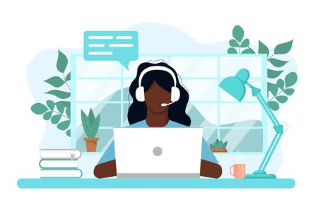 Vector concept of work and learning from home, chat online support remotely. Isolated white background. african Girl at the computer in headphones. With flowers, books and a lamp. Flat style, pastel