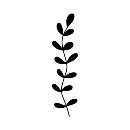 Black tropical leaf  on an isolated white background. Botanical tree branches, palm leaf on the stem. Spring summer leaf. Concept design icon for the application. Vector illustration. Иллюстрация