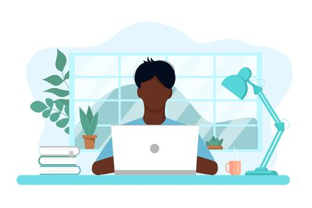 Vector concept of work and study at home, chat online support remotely from home. Isolated white background. The guy at the computer c. with flowers, books and a lamp. Flat style, pastel colors.